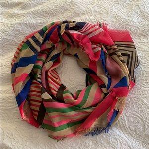 ANTHROPOLOGIE colorful geometric sheer scarf